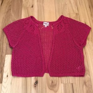 EUC Justice size 16-18 pink knit cropped cardigan
